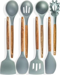 Home Hero 8-Piece Silicone Wooden Kitchen Utensil Set