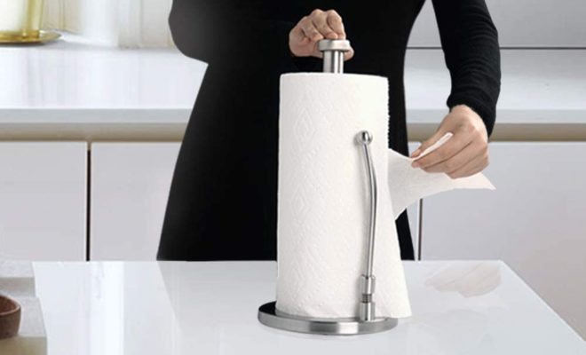 SMARTAKE Paper Towel Holder, Stainless Steel Standing Paper Towel Organizer Roll Dispenser