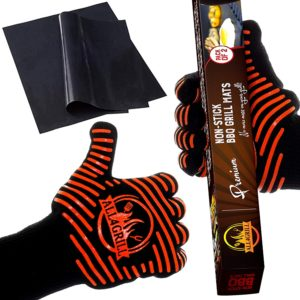 All4Grill BBQ Gloves and Grill Mats Set