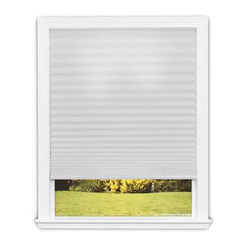 Easy Lift Trim-at-Home Cordless Pleated Light Filtering Fabric Shade White