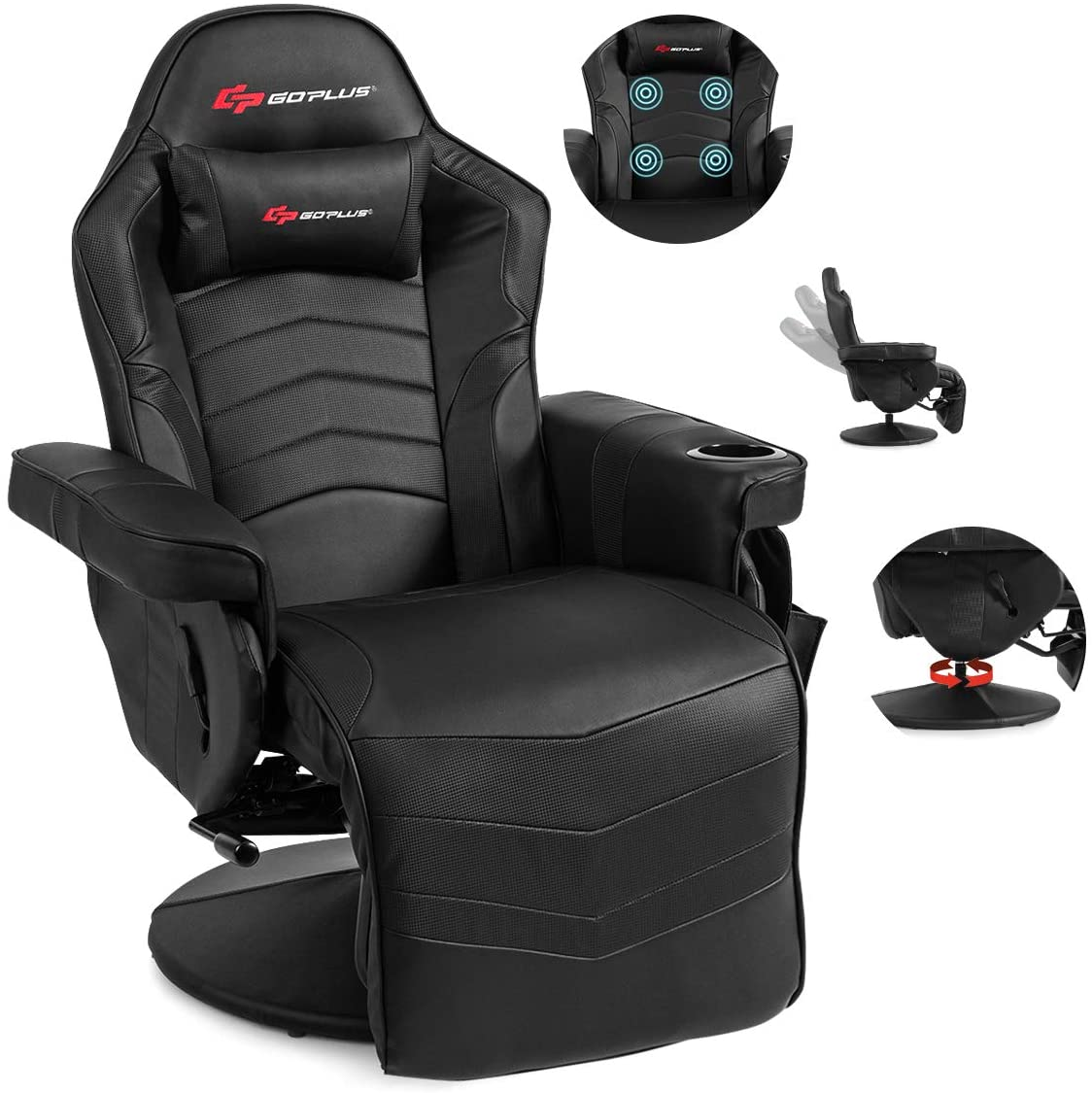 POWERSTONE Gaming Recliner Massage Sofa Ergonomic PU Leather Gaming Chair with Footrest Cup Holder