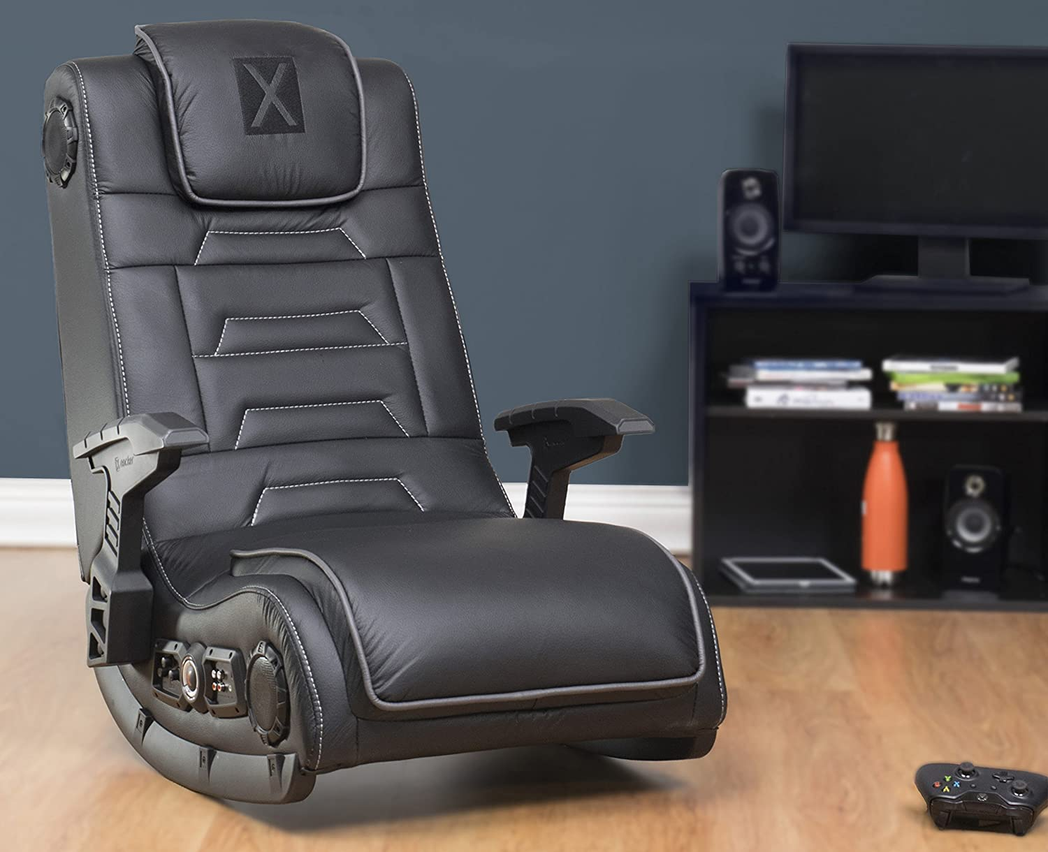 X Rocker Pro Series H3 Black Leather Vibrating Floor Video Gaming Chair with Headrest for Adult
