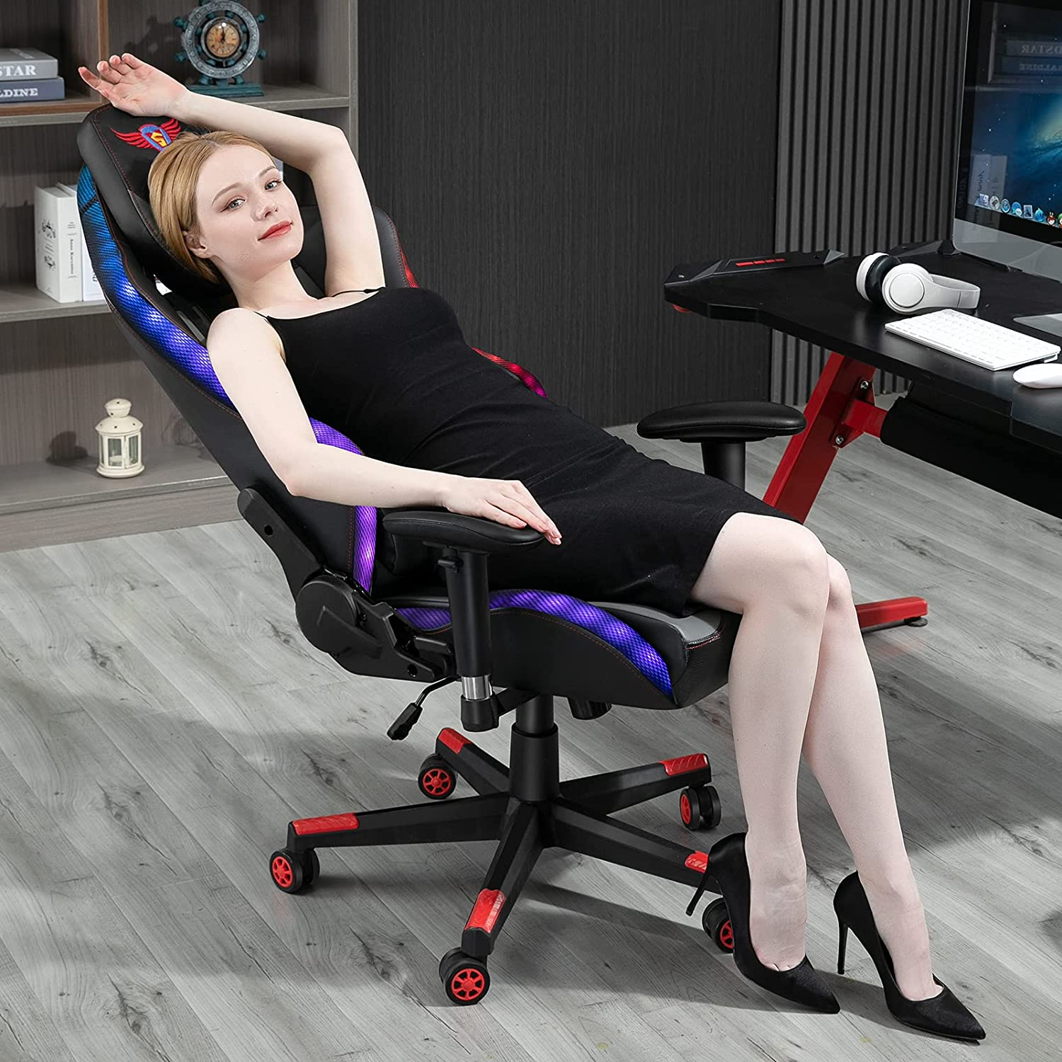 X-VOLSPORT Gaming Chair Computer Chair with RGB LED Lights Office Chair Gaming Chairs PU Leather Swivel Racing Style Video Game