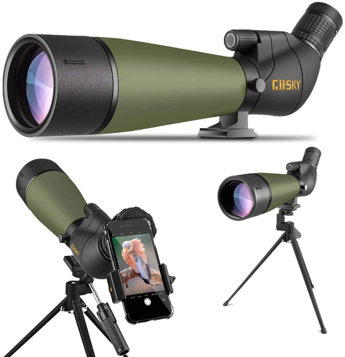 Gosky Updated 20-60x80 Spotting Scope with Tripod and Carrying Bag