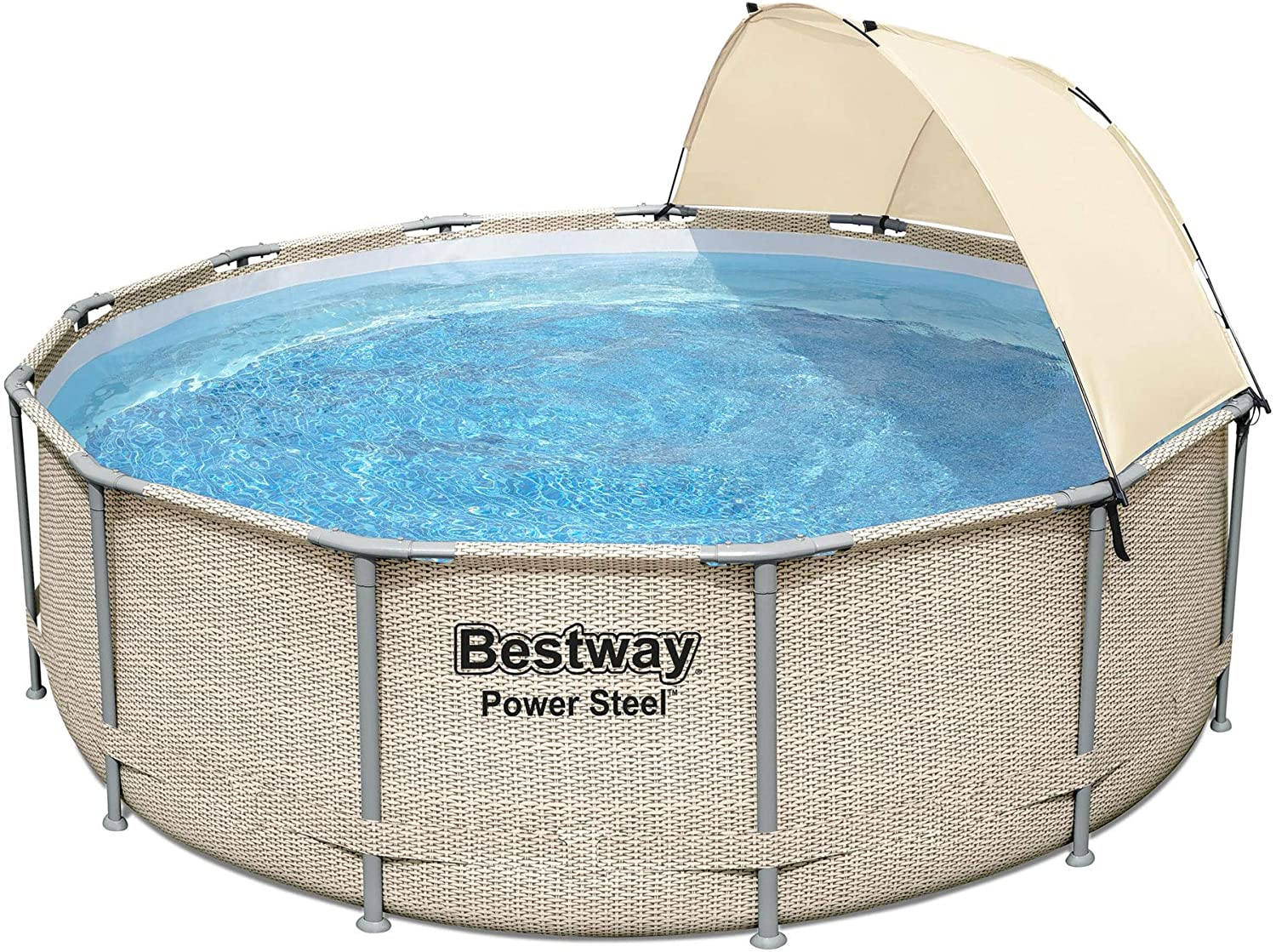 Bestway 5614UE 13 Foot x 42 Inches Power Steel Frame Above Ground Backyard Swimming Pool Set