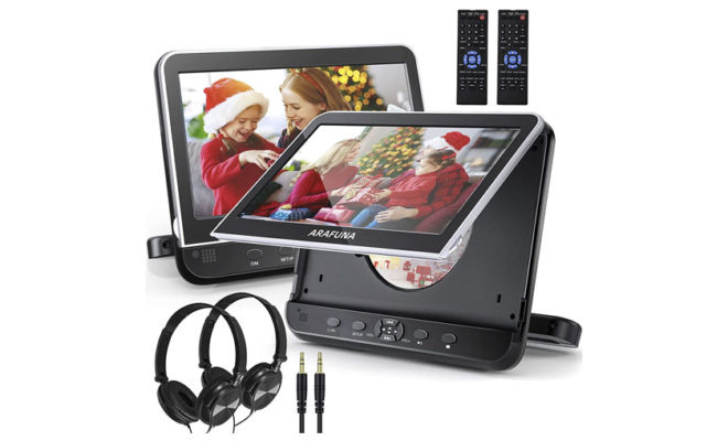 Dual Car DVD Player with Headrest Mount