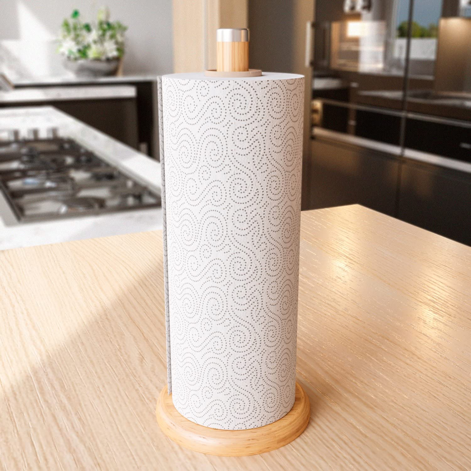 Home Intuition Rustic Bamboo Wood Counter Top Slim Paper Towel Holder