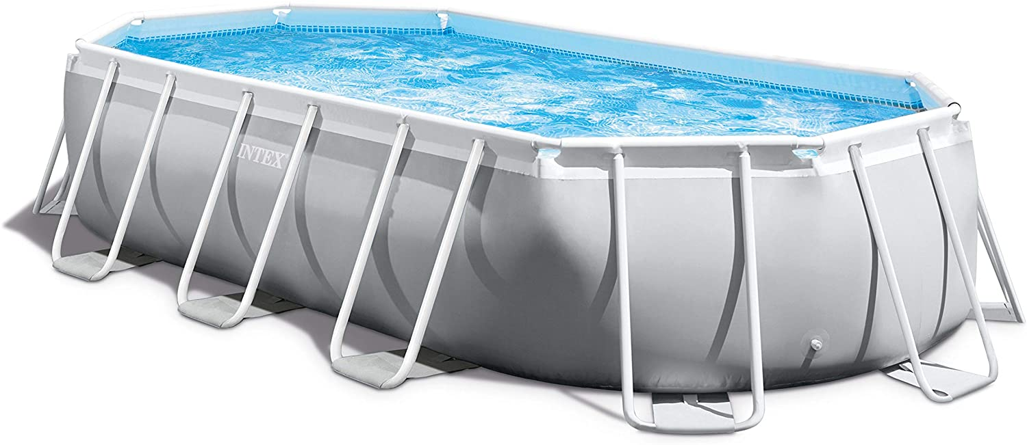 Intex 16ft 6in 26795EH Prism 16.5ft x 9ft 48in Outdoor Frame Above Ground Oval Swimming Set