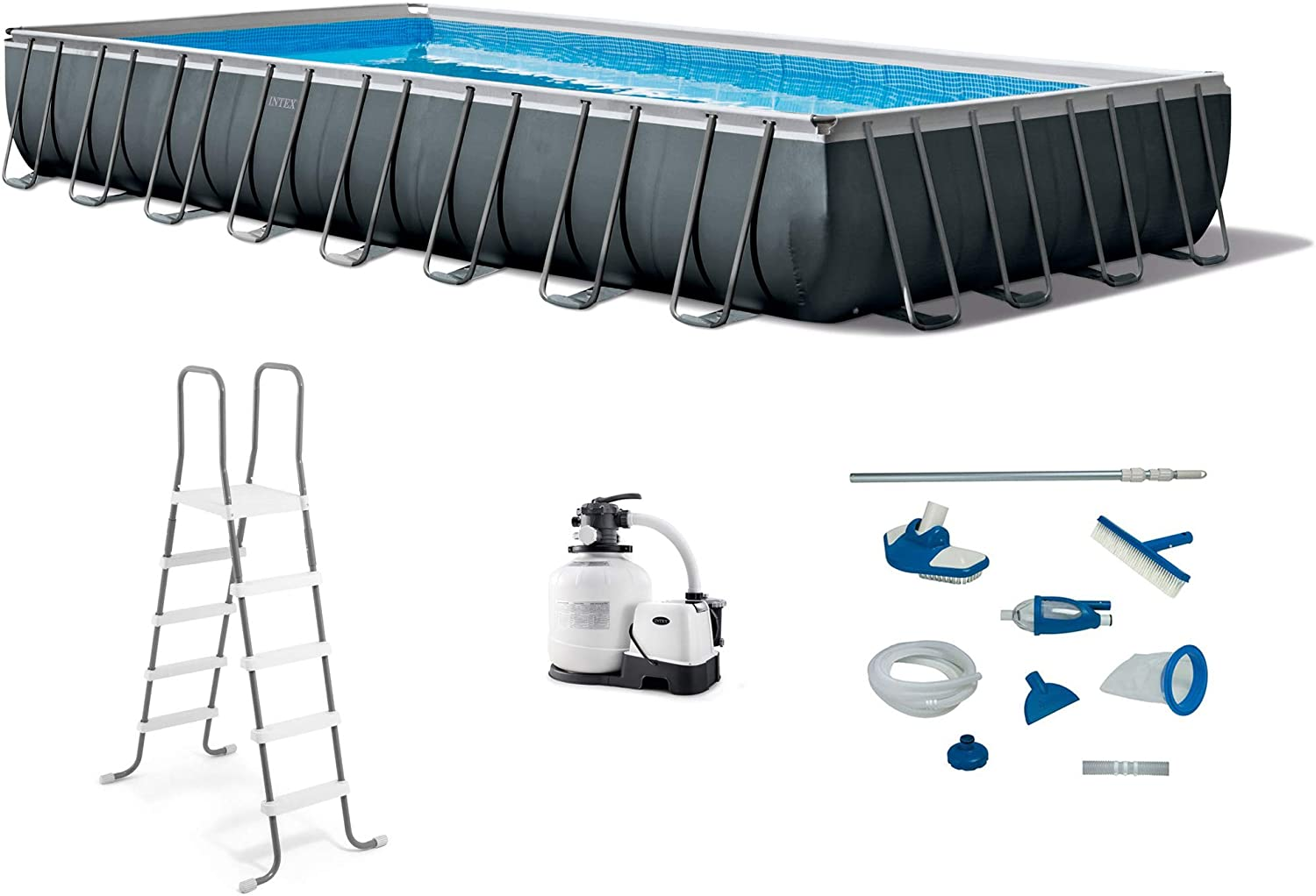 Intex 26377EH 32ft x 16ft x 52in Ultra XTR Rectangular Swimming Pool with 28003E Maintenance Kit