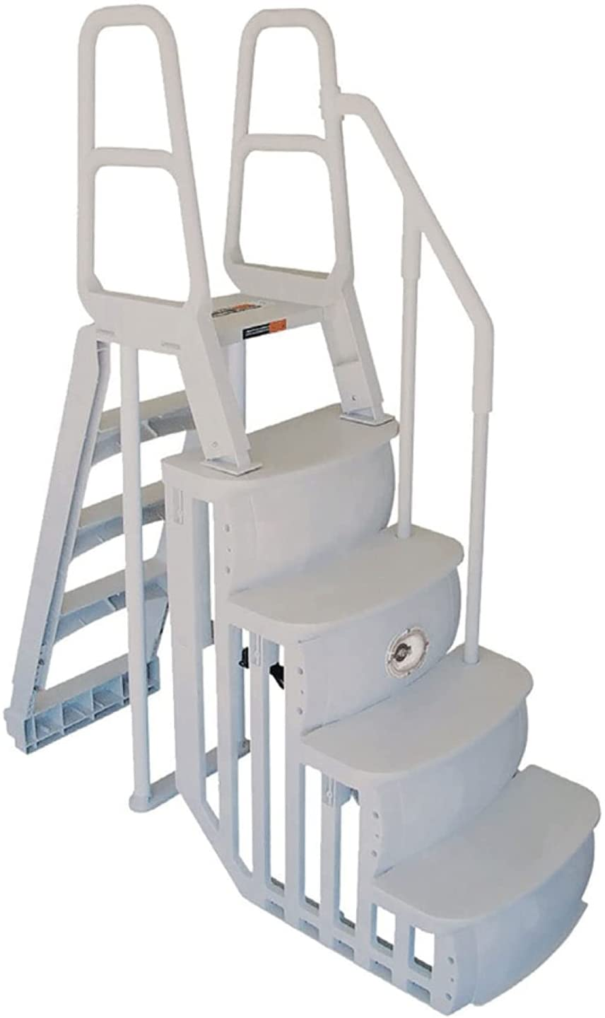 Main Access 48-54 Inch Heavy-Duty Adjustable Above Ground Swimming Pool Smart Step and Ladder Entry