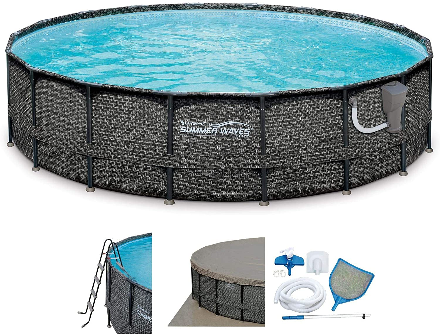 Summer Waves Elite P4A02048B 20ft x 48in Above Ground Frame Swimming Pool Set