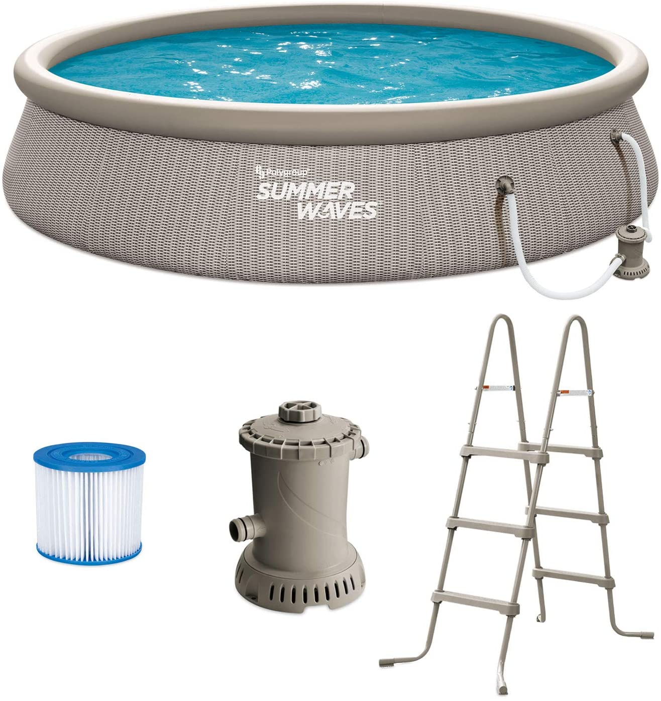 Summer Waves P1B01436E 14ft x 36in Round Quick Set Inflatable Ring Above Ground Swimming Pool