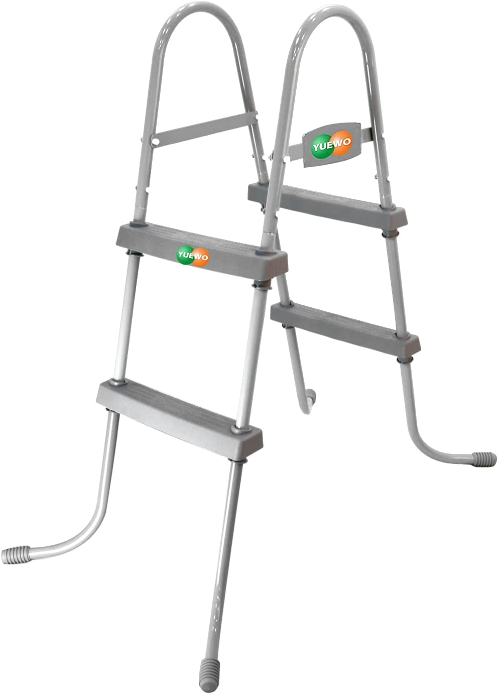 YUEWO 2-Step Steel Frame Above Ground Swimming Pool Ladder with Non-Slip Plastic Steps